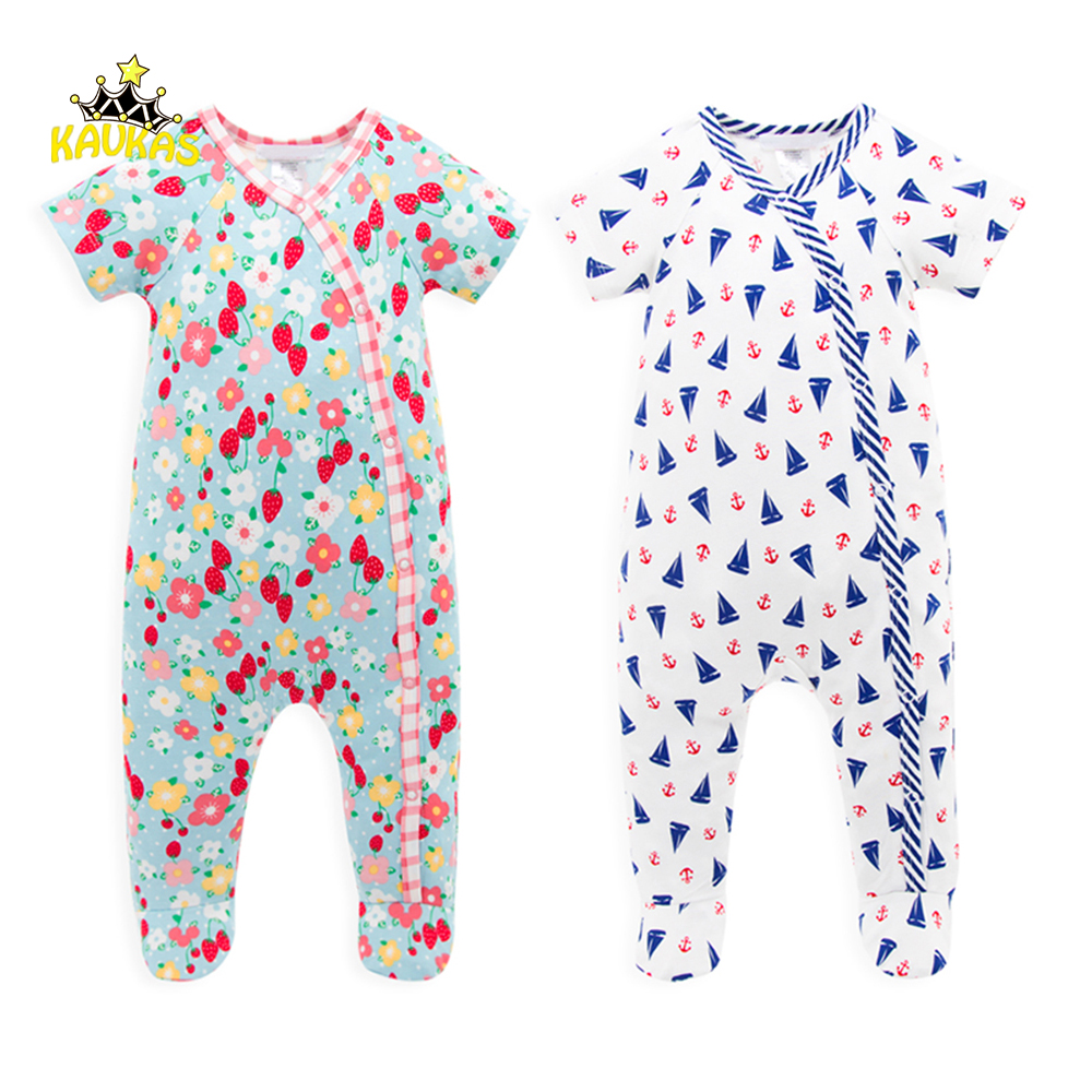 KAVKAS Newborn Baby Girls Floral Rompers Boys Geometric Patterns Jumpsuit Summer Clothing Short Sleeve Body Suit Clothes Outfits
