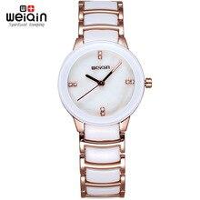 2016 WEIQIN Marca Relojes de Moda Señoras Reloj de pulsera de Mujeres Piedras reloj de Mujer Reloj de Cuarzo de Oro de lujo relogio feminino