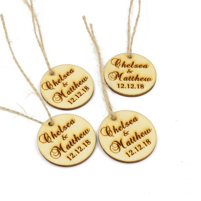 50 Pcs Personalized Engraved Wooden Round Tags Wedding Gift Labels With Twine Custom Rustic Wood Wine
