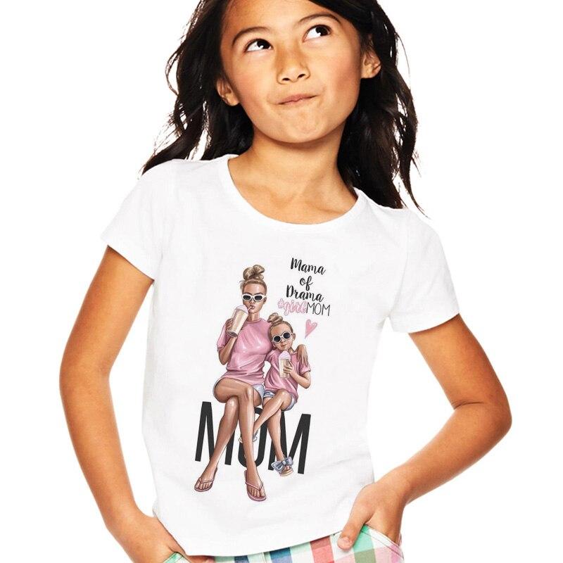 Super Mom Baby Girls Tshirt Kawaii Mother And Baby Love Life Print Girl Tops White Round Neck Short Sleeve Girl T Shirt Children