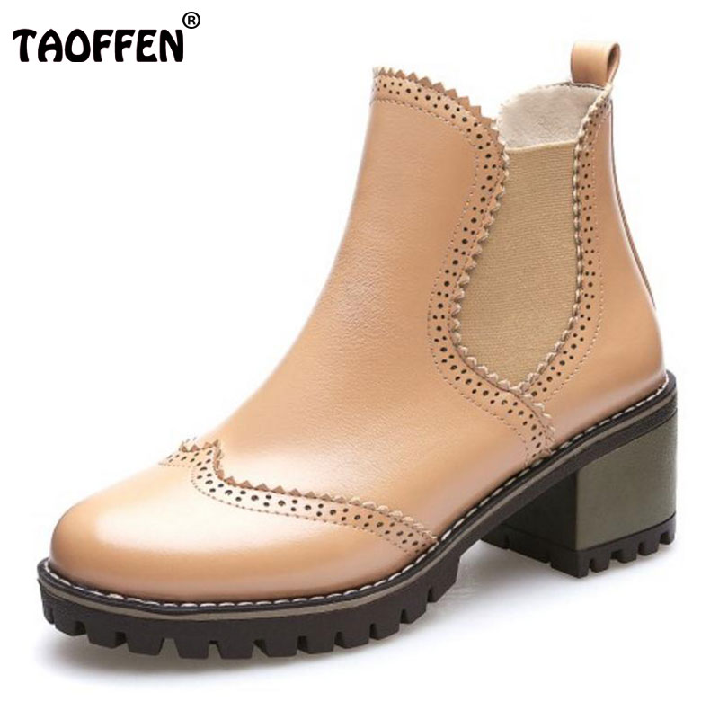 TAOFFEN Ladies Warm Boots High Heel Shoes Women Solid Color Slip On Hollow Out Heels Boots Women Daily Footwear Size 34-39