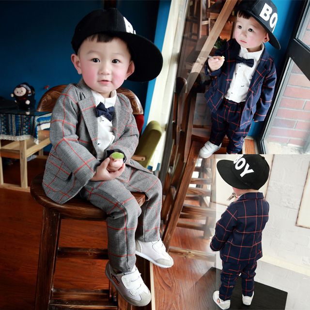 Roupas Infantis 2015 New Fashion Cotton Suits Boys Autumn Winter V-neck Long-sleeved  Single-breasted Suit  Boys Wedding Clothes