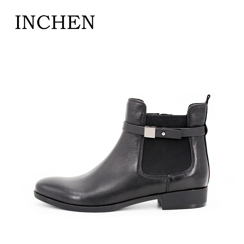 INCHEN Chelsea Boots Round Toe Low Thick Heels Boots Black Genuine Leather Zipper Ankle Boots 2017 Fashion Ladies Shoes JS44 стоимость