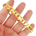 ANDARA Top Quality Men's 10MM Yellow Gold Figaro Chain Bracelet Fashion 24K Real Gold Plated Jewelry Mens Bracelet Gift H093