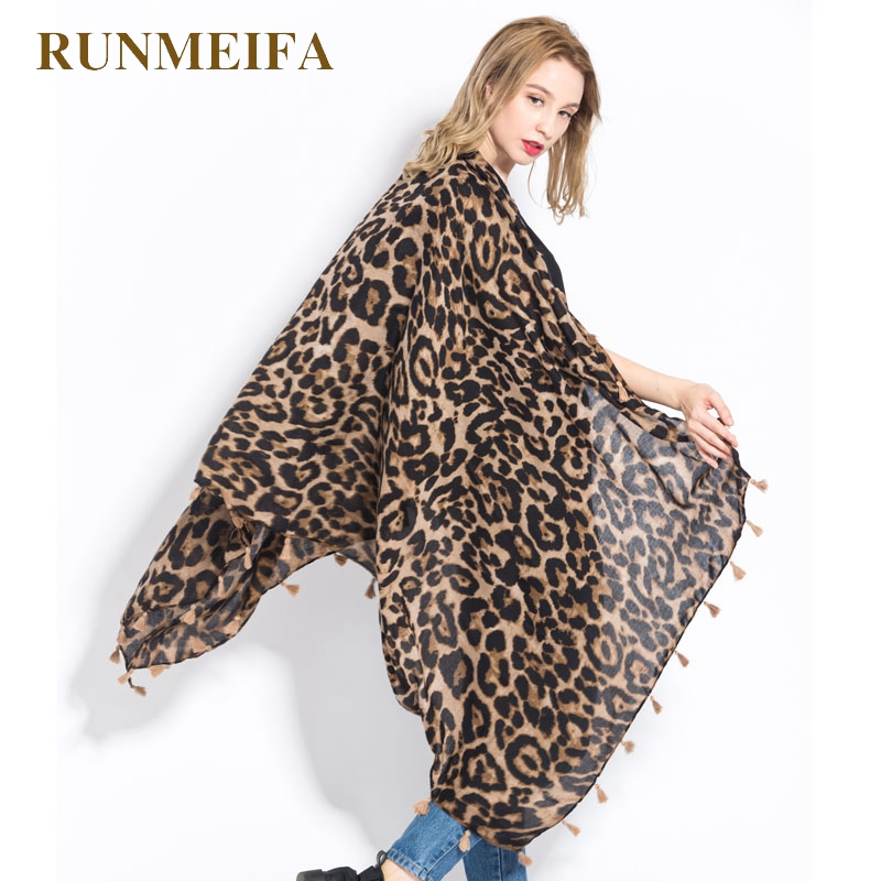[RUNMEIFA] Fashion Women Wild Leopard Print Scarf Shawls And Wraps Sjaals Famale Cotton Long  Cape Shawl Scarves Foulard Femme