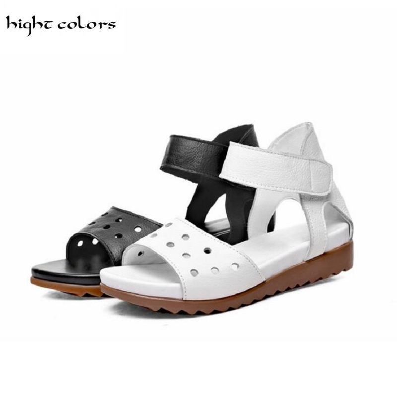 hight colors Brand Summer Open Toe Shoes Woman Genuine Leather Wedge Platform Sandals Fashion 2017 Casual Wedges Women Sandals phyanic 2017 gladiator sandals gold silver shoes woman summer platform wedges glitters creepers casual women shoes phy3323