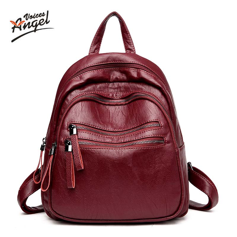 Angel Voices Fashion Genuine Leather Backpack Women Bags Preppy Style Backpack Girls School Bags Zipper Kanken Leather Backpack steve cockram 5 voices