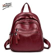 Engel Stimmen Fashion Echtes Leder Rucksack Frauen Taschen Adrette Rucksack Mädchen Schultaschen Reißverschluss Kanken Leder Rucksack