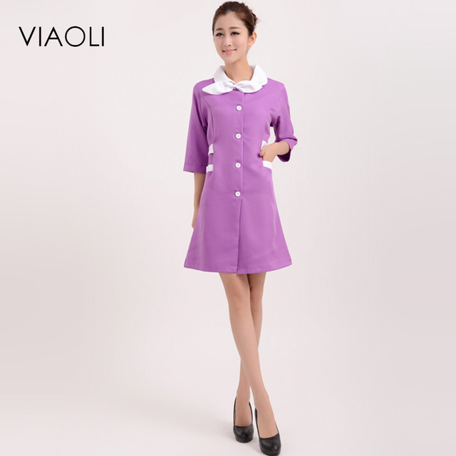 a615d9cbfbf91 Viaoli Medical uniforms nursing Clothes For Beauty Shop Short Sleeve Doctor  Clothing uniformes hospital women Work dress