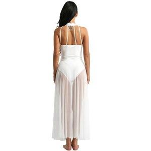 Image 3 - Балетное платье, трико для балета, Женское боди, длинное балетное платье с ложным воротником и сетчатой юбкой макси, танцевальное платье из лайкры