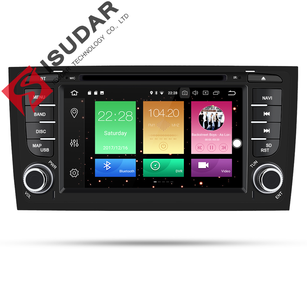 Isudar lecteur multimédia De Voiture autoradio Deux Din Android 8.0 chaîne hi-fi Pour Audi/A6/S6/RS6 GPS RAM 4 GB DSP USB DVR OBD2 FM