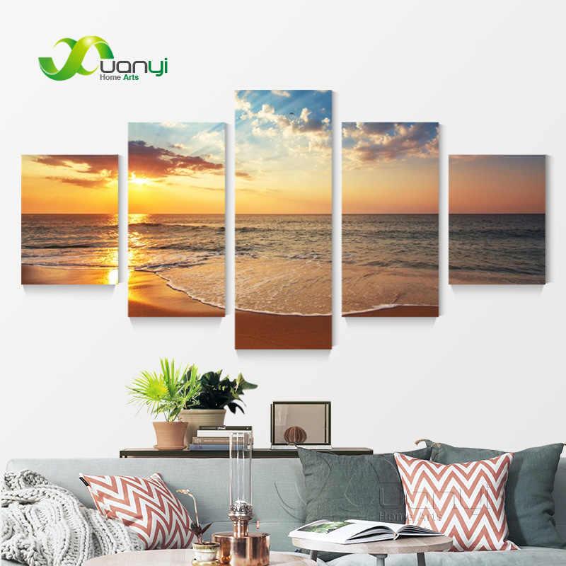 大 5 パネルキャンバスアート日没海の油絵非フレーム日没海のためのキャンバスピクチャー絵画オフィススプレー PR1150