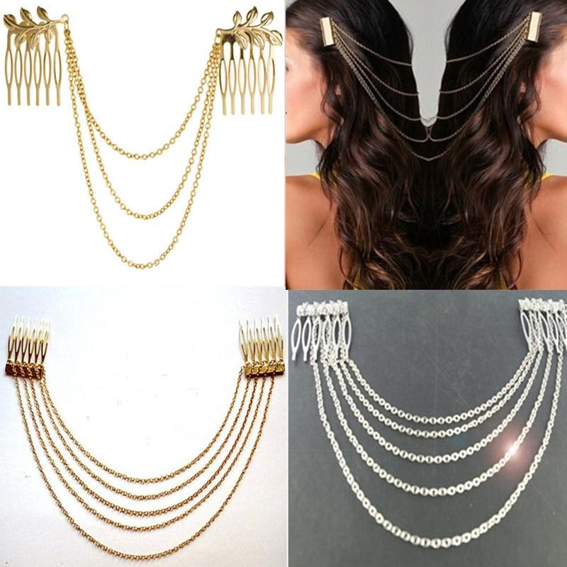 Fashion 2017 Women Hair Accessories Tassel Chain Headband Clip Hair Comb Bridal Leaf Headwear Metal new racing 25a esc brushless electric speed controller for rc car truck model