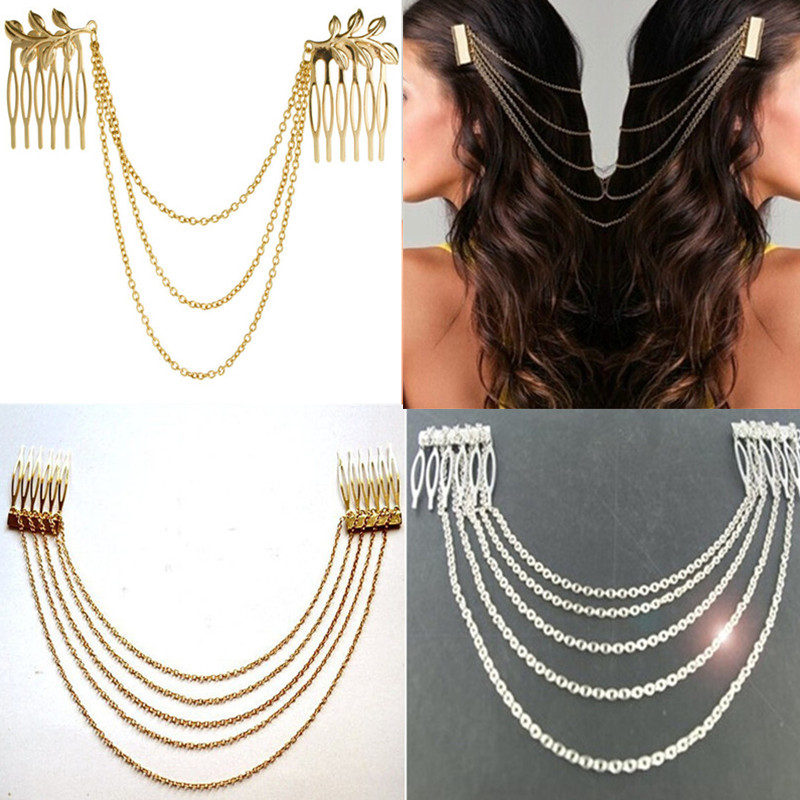 Fashion 2018 Women Hair Accessories Tassel Chain Headband Clip Hair Comb Bridal Leaf   Headwear   Metal