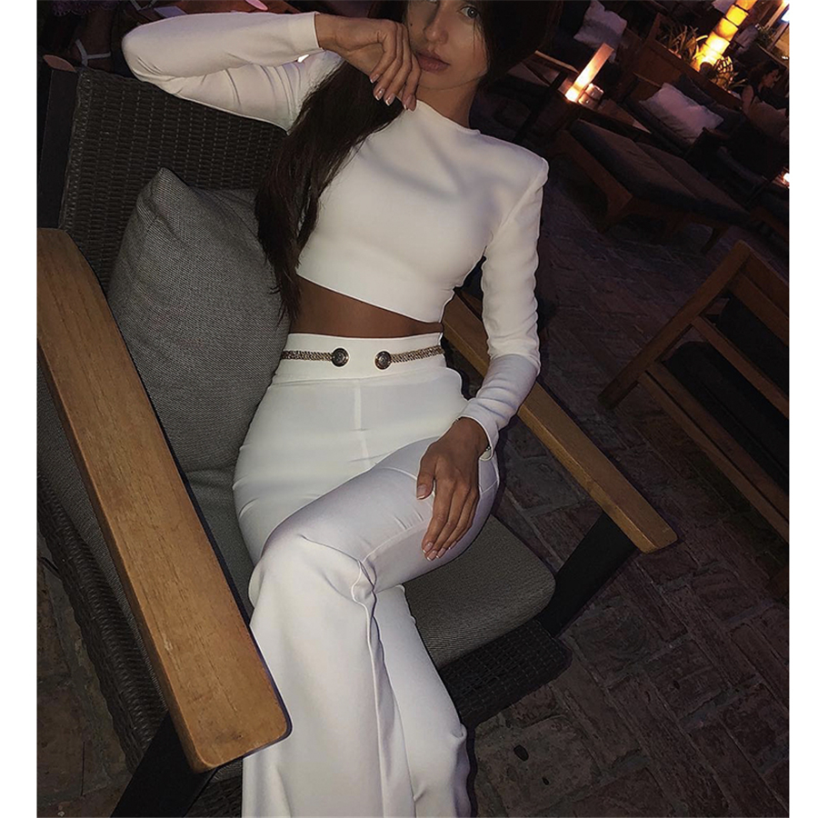 H5677 Two Piece Bandage Pants Set Casual Party Women Outfit Fashion White O Neck Long Sleeve Short Zipper Crop Top Trousers Sets