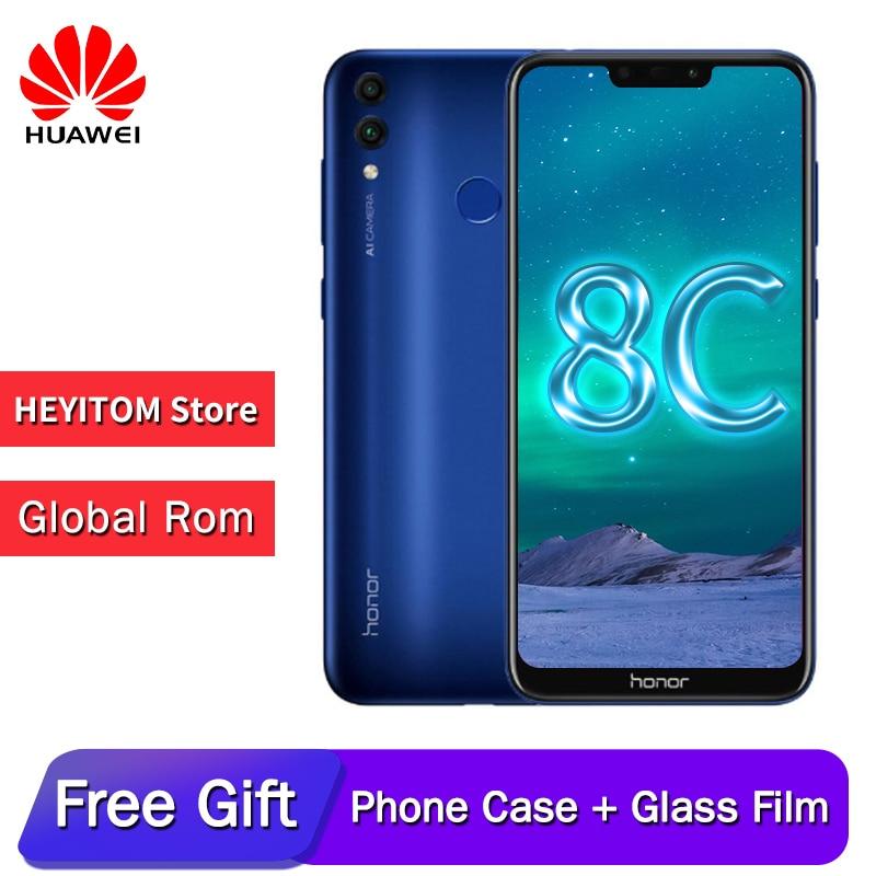 Original huawei honor 8C 6.26in reconnaissance faciale Snapdragon 632 Octa core avant 8.0MP double caméra arrière 4000 mAh 3 cartes slot