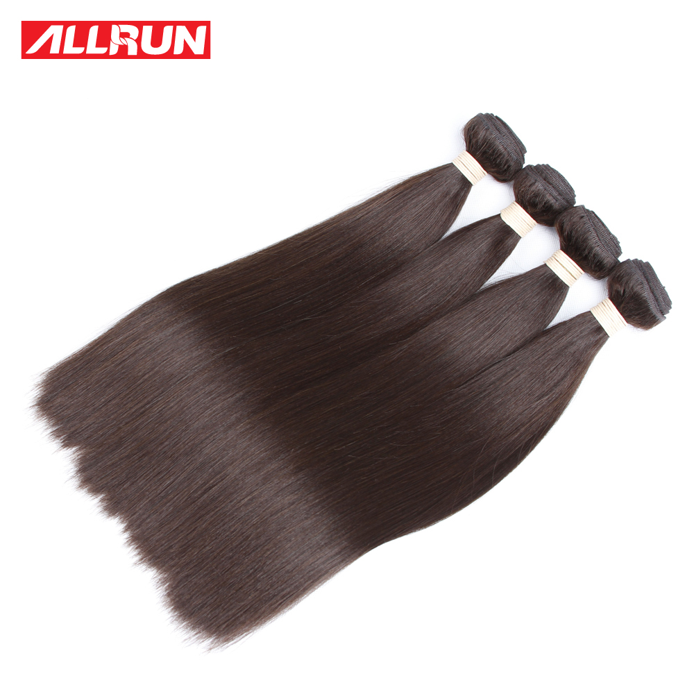 Allrun 4 Pcs Peruvian Straight Hair Bundles 2# Color Non Remy Hair 100% Human Hair Weave Extensions Free Shipping