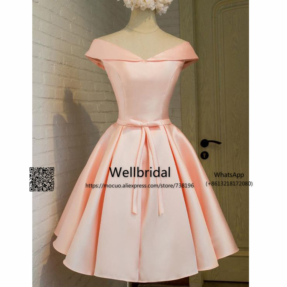 New 2018 Simple Bridesmaid Dresses Short Wedding Party Dress Maid Of Honor Bow Pink Satin Homecoming
