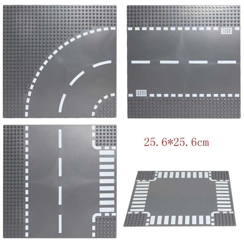 City Road Street Base Plate Straight Crossroad Curve T-Junction DIY Building Blocks Sets Baseplate Parts Bricks Toys