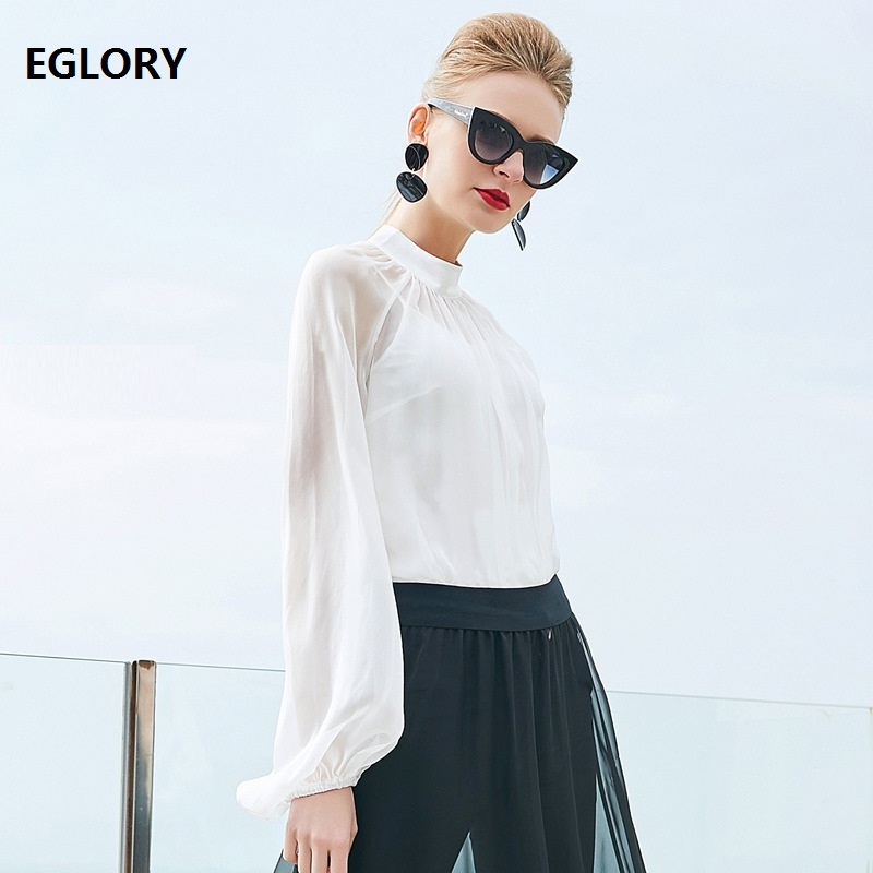 100% Silk   Blouses     Shirt   Office Women Stand Collar Lantern Long Sleeve Solid Black White   Shirts   Ladies Plus Size Tops Blusas