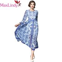 Maxlindy Kleid Vintage Inspirierte Frauen Kleider Hohe W Floral Bedruckte Tunika Schlank Vestidos Volle Hülsen-beiläufige Kleid Robe
