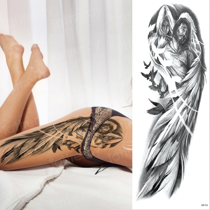 Large Arm Sleeve Tattoo Waterproof Sexy Tattoo For Women Girls Body Stickers Bikini Temporary Wing Tattoos Black Big Size Water