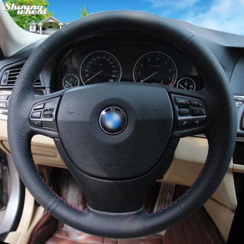BANNIS Hand-stitched Black Genuine Leather Car Steering Wheel Cover for BMW F10 523Li 525Li 2009 730Li 740Li 750Li