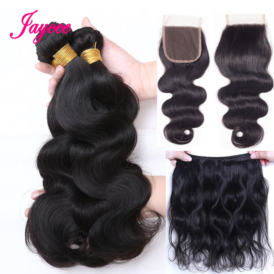 Jaycee Hair Brazilian Hair Weave 3 Bundles With Lace Closure Free Part Body Wave Human Hair Bundles With Closure Non-remy