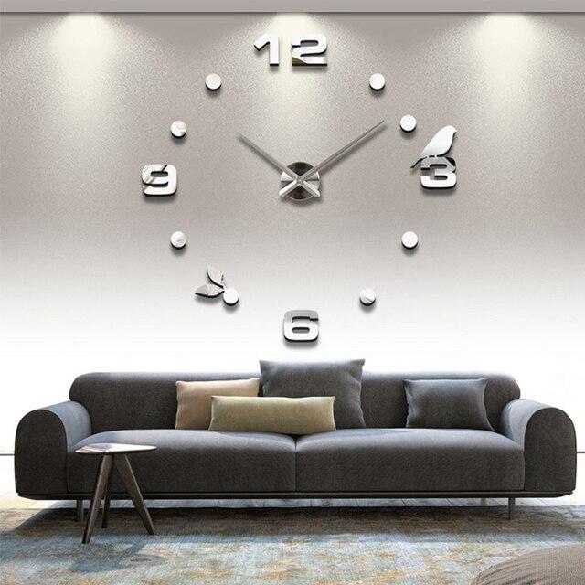 3D Acrylic  Wall Clock DIY Digital Wall Clock Bird Wall Clock Home Decoration Drop Shipping 4 Colors
