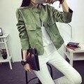 2016 новая коллекция весна Осень Ретро Замши Случайные Куртки Женщины Все-Матч Хаки Кардиган Пальто 6 Цвета Куртки Mujer SL MN126
