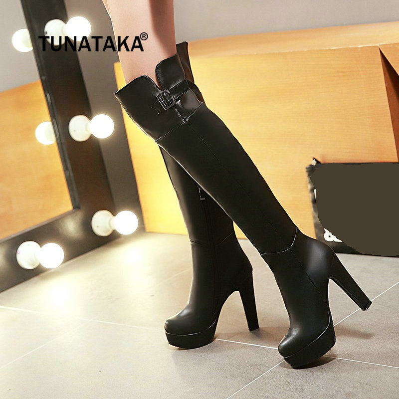 Women Side Zipper Platform Chunky High Heel Over The Knee Boots Fashion Buckle Thigh Boots Winter Woman Shoes Black Brown