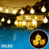 Hot 6M 30LEDs Solar String Lights Waterproof Christmas Holiday Lighting Outdoor Garden Decoration Crystal Ball Fairy