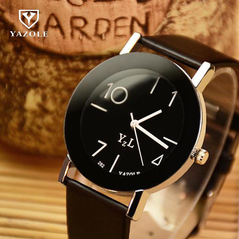 Fashion YAZOLE Simple Style PU Leather Quartz Round Dial Lovers Couple Men Women Students Children Wrist Watch Wristwatches 282