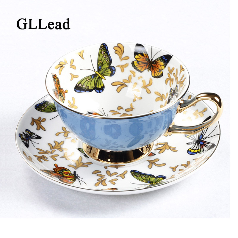 GLLead Bone China Coffee Cup Sets Colorful Butterfly Ceramic Tea Cups And Saucers British Office Teacup