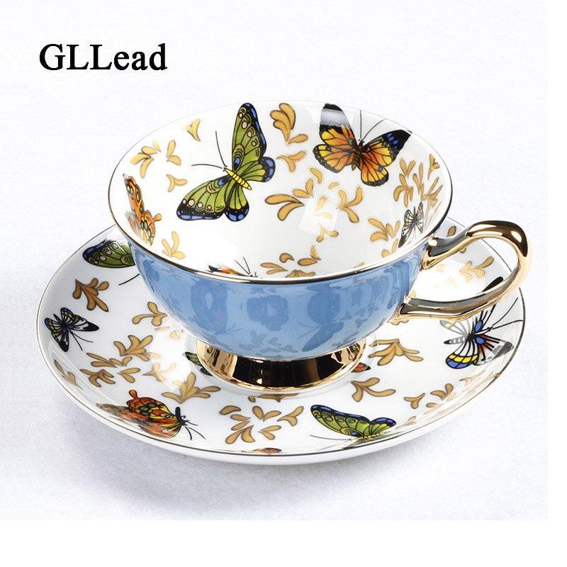 GLLead Bone taza de café de China establece coloridas tazas de té y platillos de cerámica mariposa taza de porcelana de oficina británica buen regalo