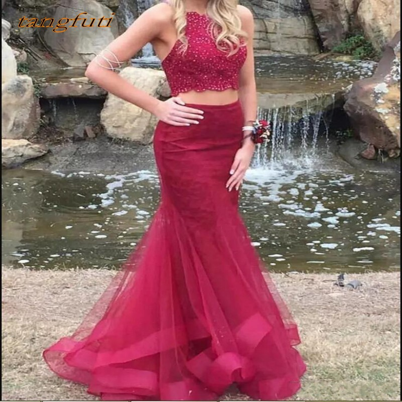 Burgundy Two 2 Piece Prom Dresses Mermaid for Graduation Beaded Tulle Long Evening Dresses Party Gown Wear vestido de formatura