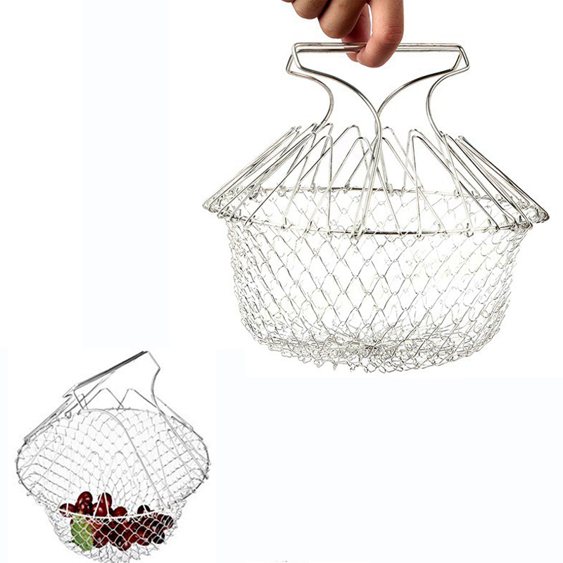 Stainless Steel Telescopic Fries Basket Waterlogging Caused By Excessive Rainfall Basket Of Folding  French Fries Basket 1p