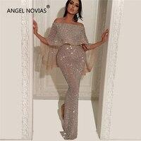 Ангел NOVIAS Длинные Русалка блеск Abendkleider Ливан Саудовская Арабский Для женщин вечерние платья 2018 с кафтан Abiye Avondjurken