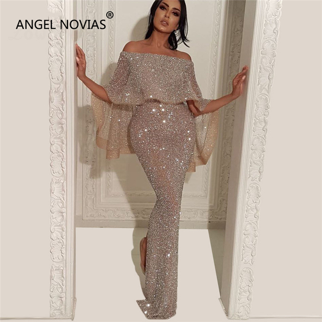 ANGEL NOVIAS Long Mermaid Glitter Abendkleider Lebanon Saudi Arabic Women Evening  Dresses 2018 with Caftan Abiye Avondjurken 02a32b3f7686