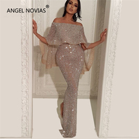 53a33d13d8b5dd ANGEL NOVIAS Long Mermaid Glitter Abendkleider Lebanon Saudi Arabic Women  Evening Dresses 2018 With Caftan Abiye