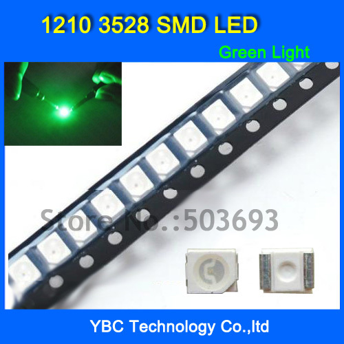 Transistors Intellective 500pcs/lot 1210 3528 Smd Led Ultra Bright Green Light Diode Wholesale Retail Dropship Agreeable Sweetness
