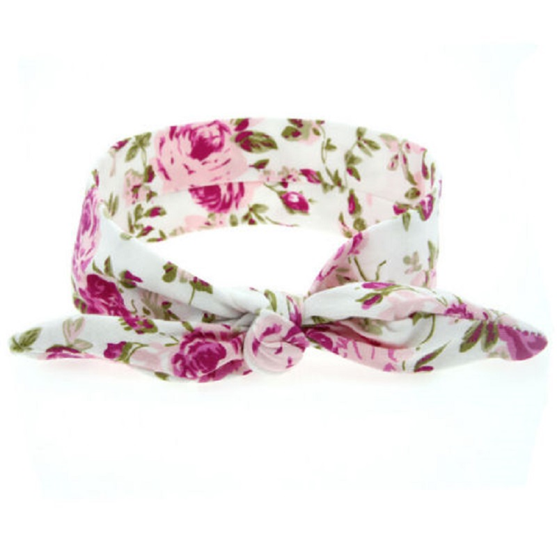 Cute Lovely Girls Cloth Turban Knot Headband Flowers Print Bowknot Headwear Floral Rabbit Ears Bow Elastic Hair Band accessories bebe girls flower headband four felt rose flowers head band elastic hairbands rainbow headwear hair accessories