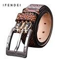 IFENDEI Cinturón Cinturones De Cuero de Lujo de Los Hombres de La primera Capa De ganado Grano de la Serpiente de Cuero Pin Hebilla de la Correa Marea Cintura Ceinture Homme