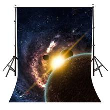 5x7ft ciel étoilé toile de fond couleur sombre cosmique Science photographie fond et Studio photographie toile de fond accessoires