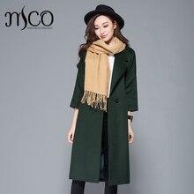 Зима Новое поступление высокое качество женское темно-зеленое кашемировое шерстяное теплое пальто Благородный пояс узкий длинный макси пальто Женская куртка