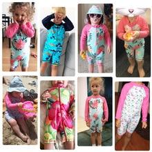 BAOHULU UPF50+ Print Children Swimwear Long Sleeve Baby Girl Swimsuit One Piece Toddler Infant Bathing Suit for Girls Boy Kids