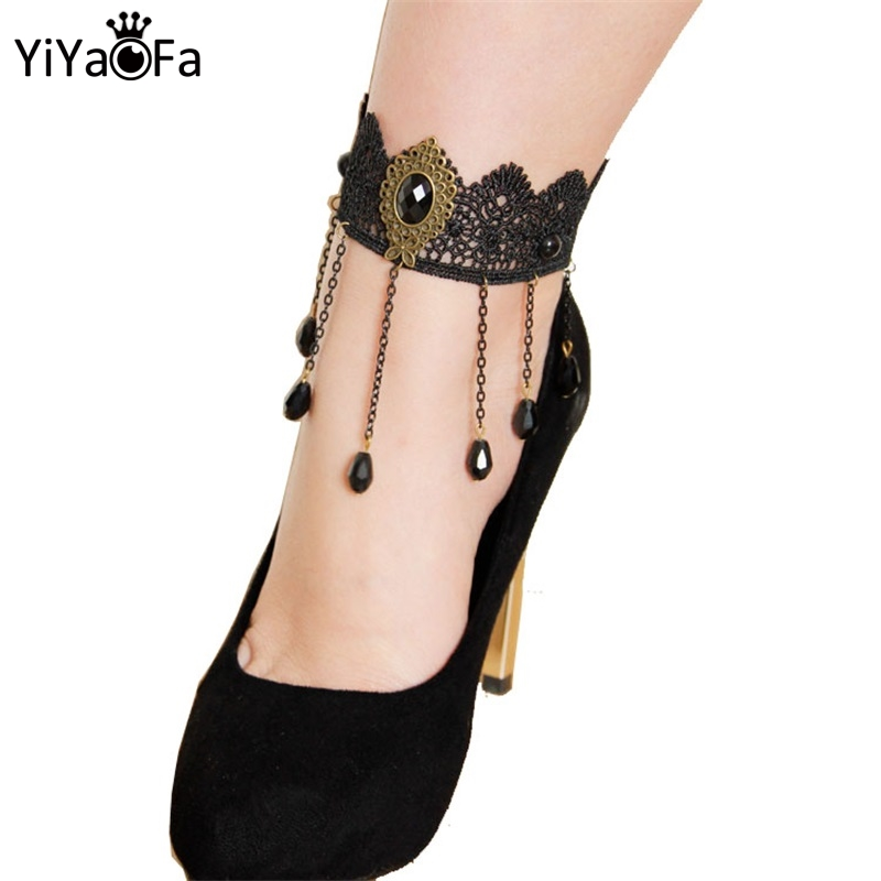 YiYaoFa Handmade Gothic Jewelry Vintage Black Lace Tassel Anklets for Women Accessories Lady Foot Jewelry LA-55