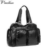 VMOHUO New Men Leather Handbag Large Capacity Male Shoulder Bag Luxury Men's Travel Bag British Retro Style Big Messenger Bag