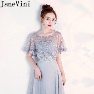Image 4 - JaneVini Hot Selling Black Evening Shrug White Lace Bridal Wrap Boleros Cape Etole Mariage Women Short Wedding Bolero Jacket