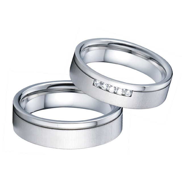 Alliances Wedding band Anniversary Rings Men Silver white gold color Titanium Jewelry engagement Couple Rings For Women